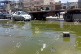 فيضان مياه المجاري في عدد من شوارع طبرق