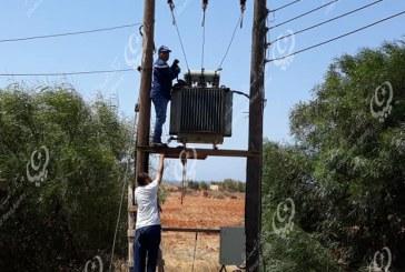 صيانة محول كهربائي هوائي بقدرة (200) كيلو فولت بمنطقة بوجرار بتوكرة