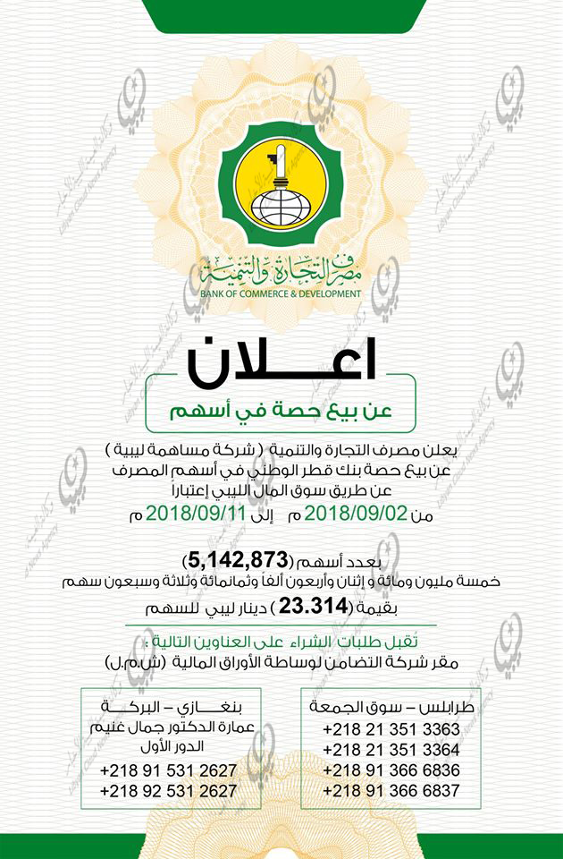 مصرف التجارة والتنمية الليبي يعلن بيع حصة بنك قطر الوطني في أسهم