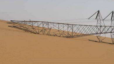 Photo of سقوط أربعة ابراج كهرباء مابين الجفرة وسبها بسبب سوء الأحوال الجوية