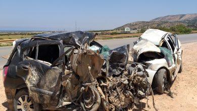 Photo of حادث سير أليم بمرتفعات الباكور بمدينة توكرة يؤدي إلى وفاة (4) أشخاص و إصابة (3)  أخرين