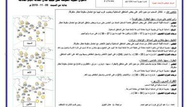 Photo of النشرة الجوية ليوم السبت الموافق 9 – 11 – 2019 الصادرة عن المركز الوطني للأرصاد الجوية