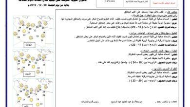 Photo of النشرة الجوية ليوم الجمعة الموافق 20 – 12 – 2019 الصادرة عن المركز الوطني للأرصاد الجوية