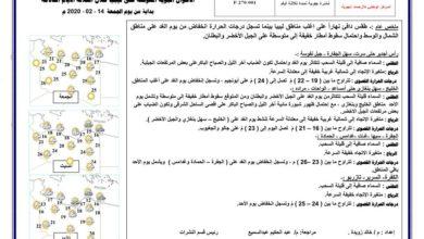Photo of النشرة الجوية ليوم الجمعة الموافق 14 – 02 – 2020 الصادرة عن المركز الوطني للأرصاد الجوية