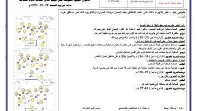 Photo of النشرة الجوية ليوم السبت الموافق 29 – 02 – 2020 الصادرة عن المركز الوطني للأرصاد الجوية