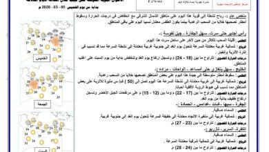 Photo of النشرة الجوية ليوم الخميس الموافق 05 – 03 – 2020 الصادرة عن المركز الوطني للأرصاد الجوية