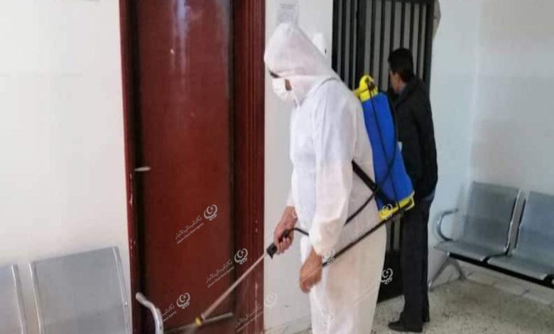 Photo of حملة تعقيم وتطهير لعدد من المباني الإدارية والحكومية ببني وليد