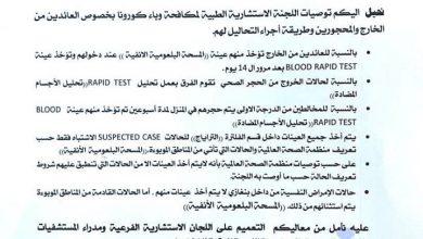 Photo of اللجنة الاستشارية الطبية تصدر مجموعة توصيات بخصوص المحجورين والعائدين من الخارج
