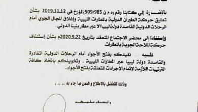 Photo of فتح الأجواء أمام الرحلات الدولية القاصدة والمغادرة لليبيا عبر جميع مطارتها