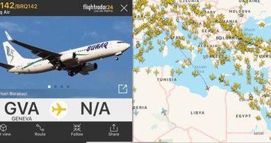 Photo of طائرة لشركة البراق تقلع في رحلة مباشرة من مطار معيتيقة إلى جنيف