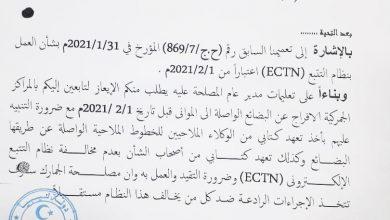 Photo of الجمارك تفرج عن البضائع  المخالفة لنظام التتبع الإلكتروني (ECTN) والموردة قبل فبراير 2021