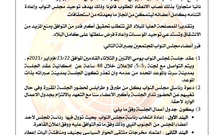 Photo of قرارات أعضاء مجلس النواب المجتمعون في صبراتة